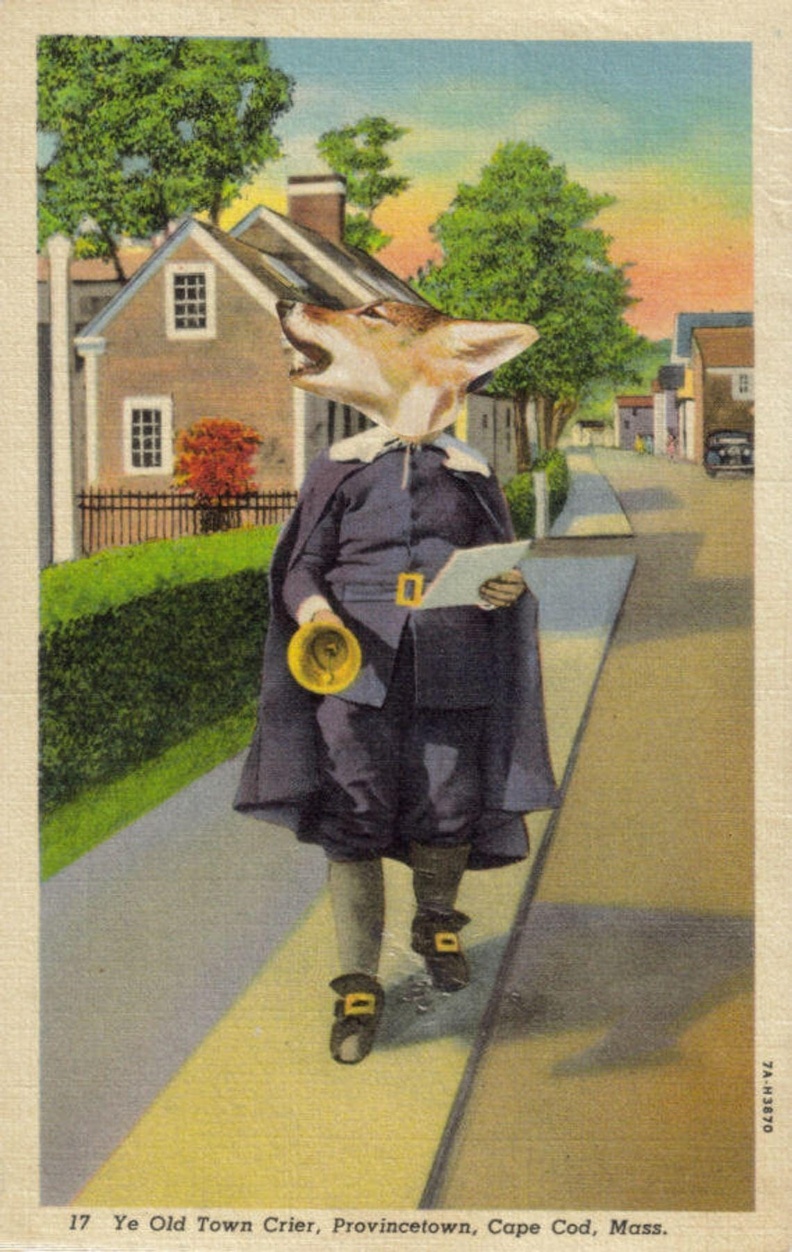 Original Collage Art, Anthropomorphic Artwork, Cape Cod Postcard - product images  of