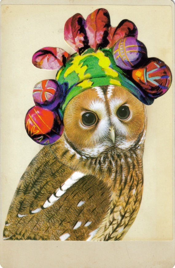 Original,Collage,Art,,Bohemian,Owl,Artwork,Original Collage Art, Bohemian Owl Artwork