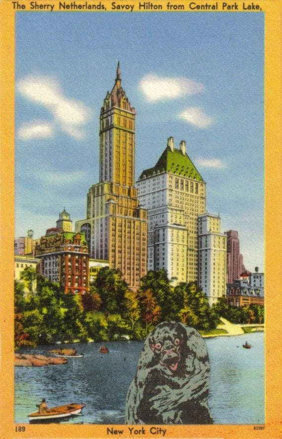 Original,Collage,Art,,Central,Park,Monster,Artwork,Original Collage Art, Central Park Monster Artwork