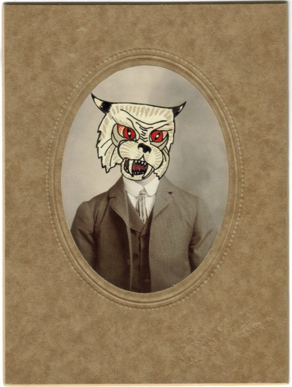 Original,Collage,Art,,Vintage,Cat,Man,,Antique,Photo,Artwork,Original Collage Art, Vintage Cat Man, Antique Photo Artwork