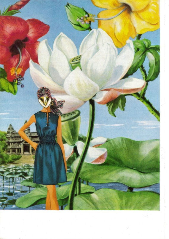 Original,Collage,Art,,Lotus,Flower,Artwork,Original Collage Art, Lotus Flower Artwork