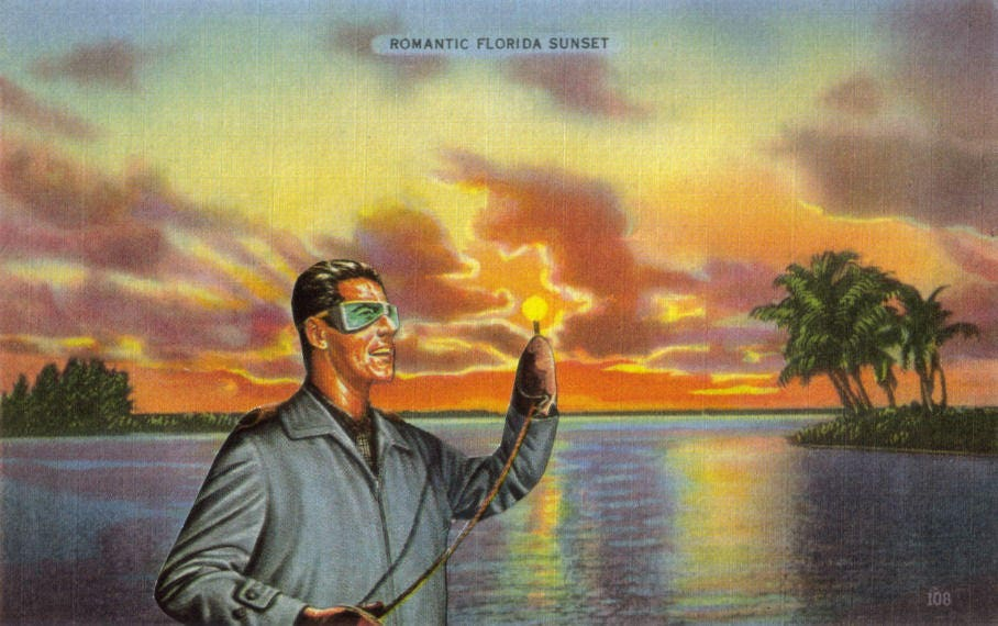 Original,Collage,,Retro,Florida,Postcard,,Sunset,Artwork,Original Collage, Retro Florida Postcard, Sunset Artwork