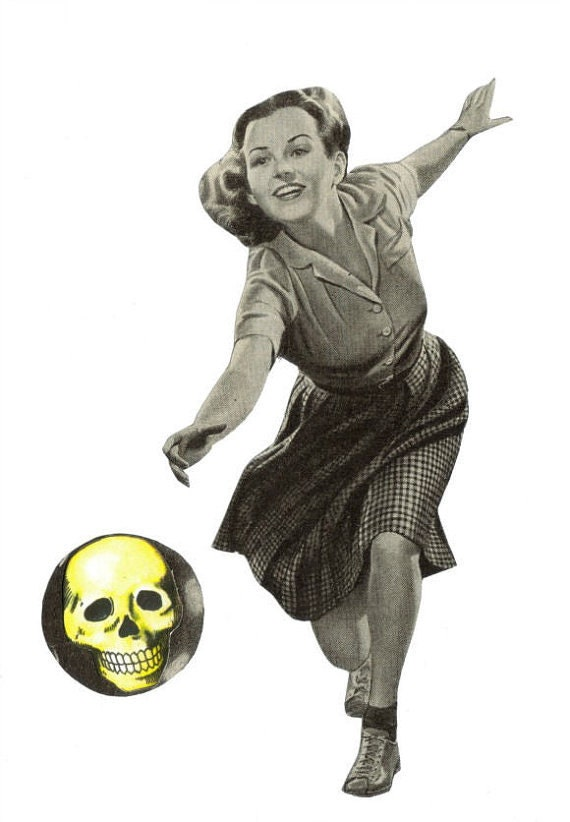 Original,Collage,Art,,Skull,Bowling,Artwork,Original Collage Art, Skull Bowling Artwork