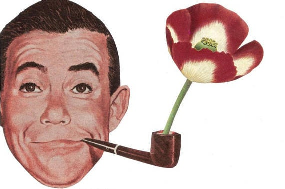 Original,Collage,Art,,Red,Poppy,Artwork,,Flower,Pipe,Original Collage Art, Red Poppy Artwork, Flower Pipe