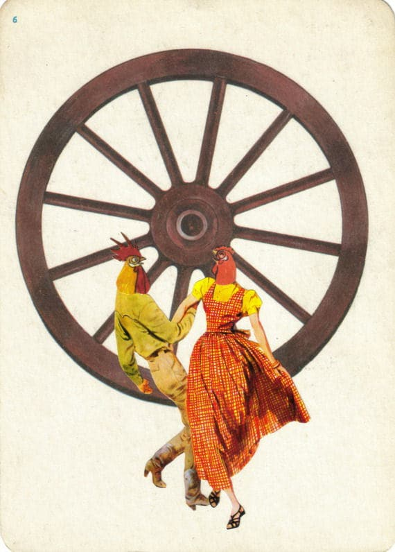 Original,Collage,Art,,Chicken,Dance,Artwork,Original Collage Art, Chicken Dance Artwork