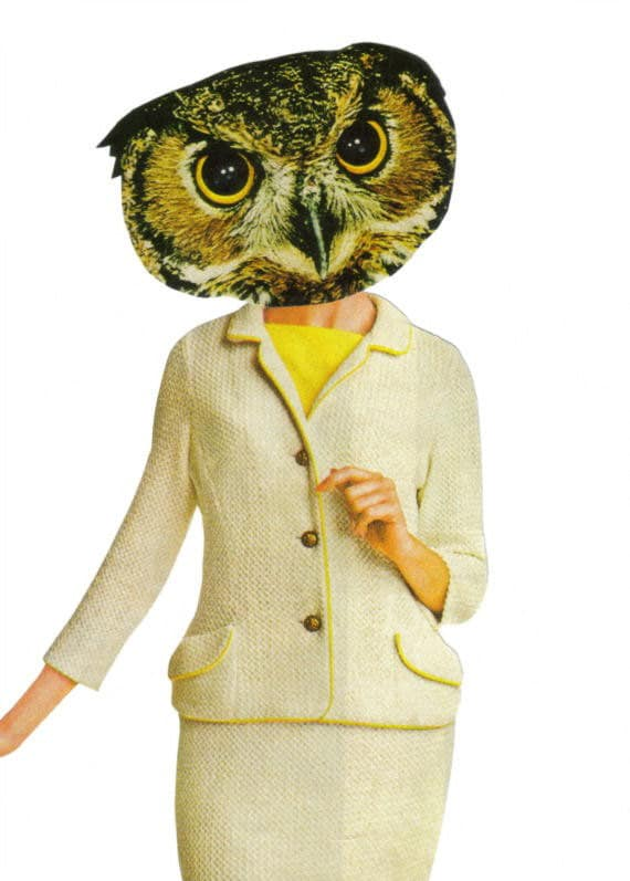 Original,Collage,Art,,Anthropomorphic,Owl,Artwork,Original Collage Art, Anthropomorphic Owl Artwork