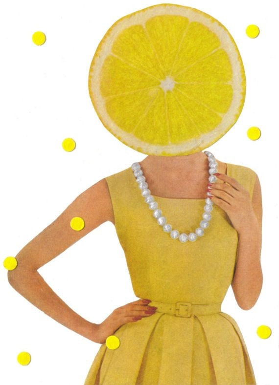 Original,Collage,Art,,Lemon,Artwork,,Citrus,Fruit,Original Collage Art, Lemon Artwork, Citrus Fruit