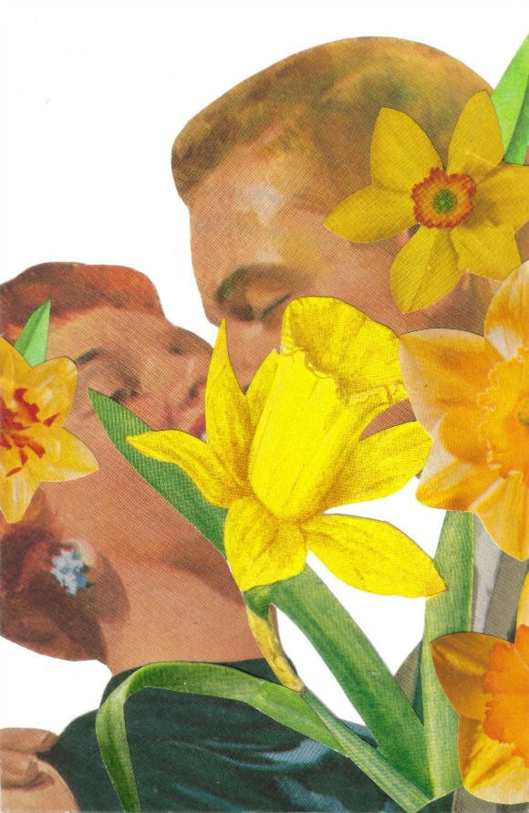 Original,Collage,Art,,Romantic,Daffodil,Artwork,Original Collage Art, Romantic Daffodil Artwork