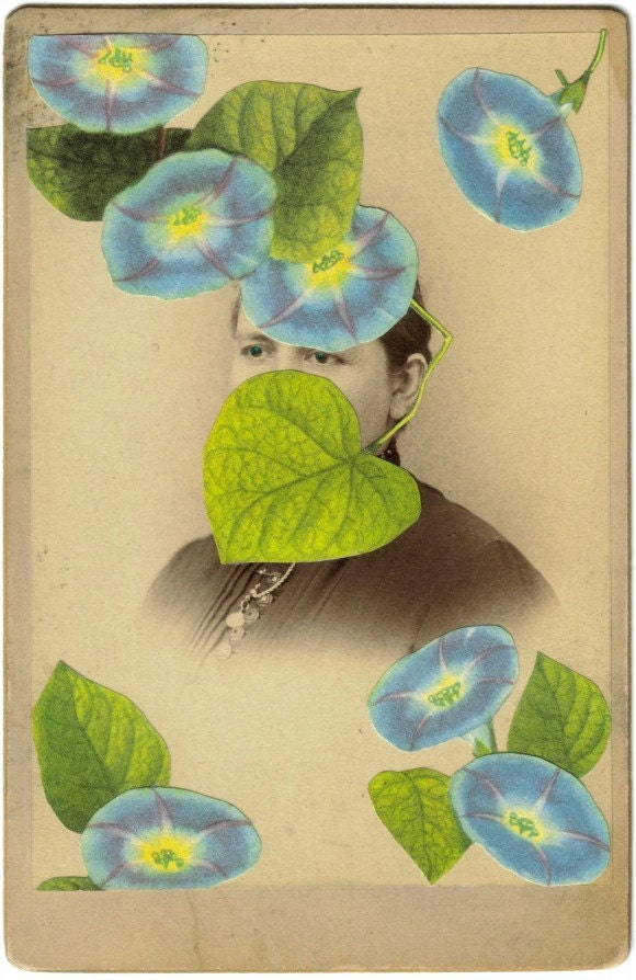 Original,Collage,Art,,Morning,Glory,Artwork,Original Collage Art, Morning Glory Artwork