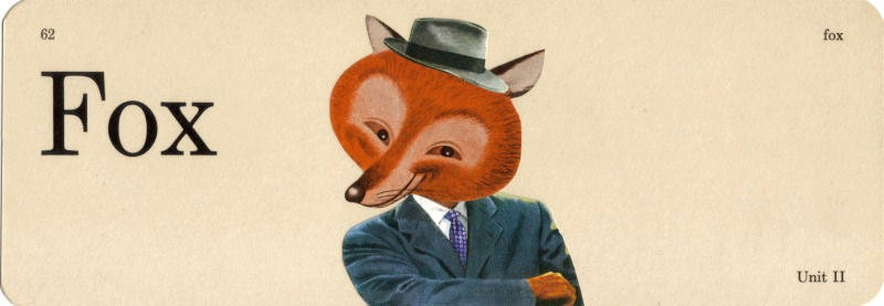 Original,Collage,Art,,Kitsch,Fox,Artwork,Original Collage Art, Kitsch Fox Artwork
