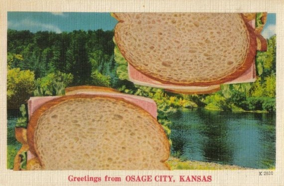 Original,Collage,Art,,Kansas,Postcard,,Food,Artwork,Original Collage Art, Kansas Postcard, Food Artwork
