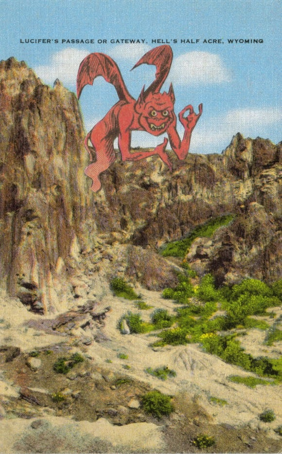 Original Collage Art, Devil Artwork, Hell Postcard - product images  of