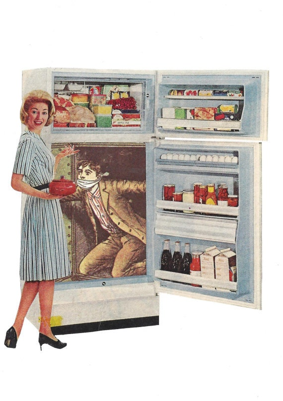 Original,Collage,Art,,Retro,Housewife,Artwork,Original Collage Art, Retro Housewife Artwork