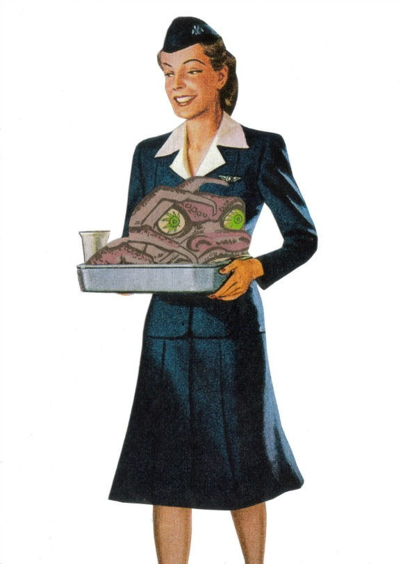 Original,Collage,Art,,Airline,Food,,Funny,Monster,Artwork,Original Collage Art, Airline Food, Funny Monster Artwork