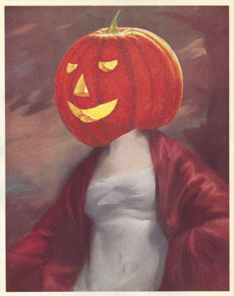 Jack O Lantern Art Work Horror Halloween Art Original Collage Artwork