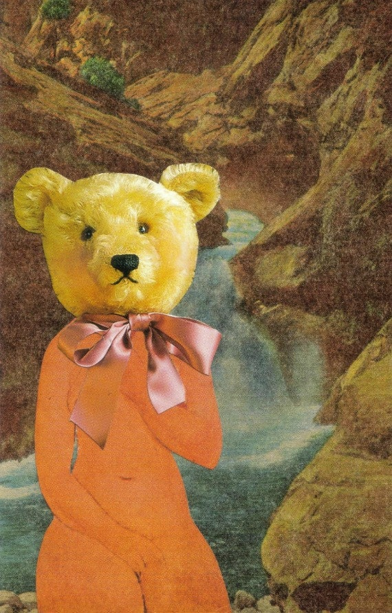Original,Collage,Art,,Funny,Animal,Artwork,,Bear,Naked,Original Collage Art, Funny Animal Artwork, Bear Naked