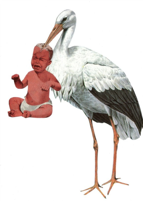 Original,Collage,Art,,Baby,and,Stork,Artwork,Original Collage Art, Baby and Stork Artwork