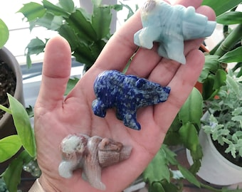 Mini Crystal Carved Bear, Your Choice, Rock Collection, Crystal Collectors, Altar, Animal Totem, Bear Crystal, Miniature Carving, Gemstone