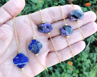 Minimal Adjustable Gold Chain Bracelet Your Choice Lapis Lazuli or Charoite, Gemstone Jewelry, Minimalist Jewelry, Adjustable Chain bracelet