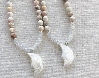 Howlite, Rainbow Moonstone & MOP Moon Necklace, Layering Jewelry, Healing Statement Jewelry,  Boho Style, Celestial Jewelry, Boho Necklace