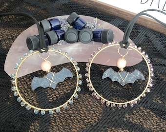 Custom Blend Aromatherapy and Druzy Crystal Carved Bat Car Accessory or Sun Catcher, Crystal Rear View Mirror Charm, Witchy Sun Catcher,Gift