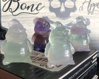 Oogie Boogie Crystal Carving, Fluorite Carving, Nightmare Before Christmas, Mineral Specimen, Crystal Sculpture, Your Choice, Spooky