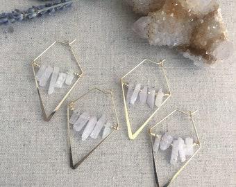 Kunzite Geometric Earrings, Gemstone Jewelry, Boho Style, Earrings, Crystal Earrings,