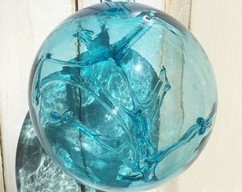Hand Blown Glass Witch Ball - Turquoise Blue