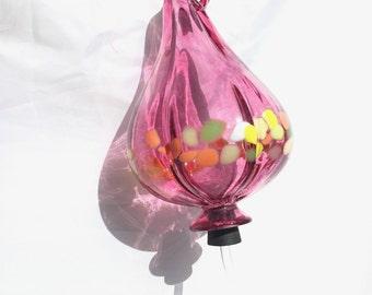 LOVELY ! Hummingbird Feeder - Pink Ruby Blown Glass