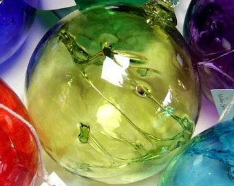 Hand Blown Glass Witch Ball - Lime