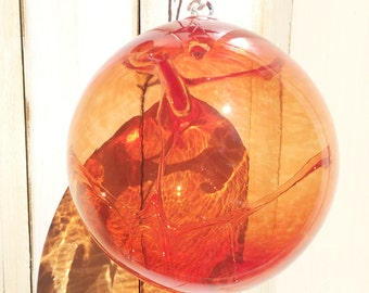 Hand Blown Glass Witch Ball - Red