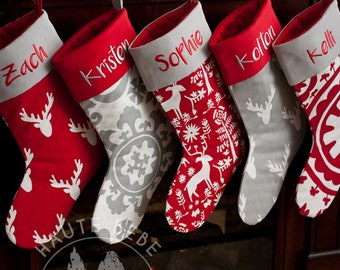 personalized christmas stocking custom made to order grey and red christmas decor holiday decor matching family stockings gray red