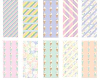 I dream of ice-cream - Seamless Pattern Digital Download Prints - Set of 10 Paper Pack - jpeg files