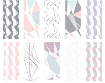 Soft Shards - Seamless Pattern Digital Download Prints - Set of 10 Paper Pack - jpeg files