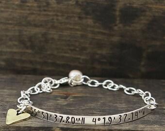 Coordinates Of My Heart Bracelet For Her, Girls, Women | Personalized Custom Sterling Silver Longitude Latitude Bracelet With Bronze Heart