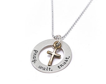 My Faithful Cross Charm Necklace For Women | Personalized Hand-Stamped Name, Quote Jewelry For Mom | Baptism, Holy Communion Gift
