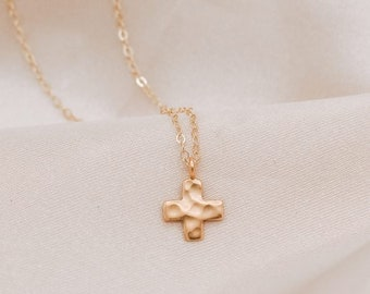 Hammered Cross Pendant Necklace For Women | Gold Religious, Faith, Christian Jewelry For Moms | Christmas, Thanksgiving Gift For Wife