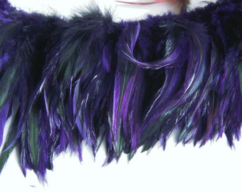 PURPLE Badger Rooster Feathers, Top Stitched Feather Fringe