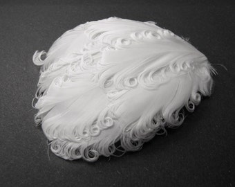 SOLID WHITE Curly Feather Pads, Nagorie Feathers
