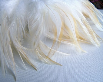 White Rooster Feathers, Bleached Badger Feathers, Top Stitched Feather Fringe