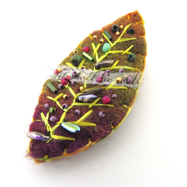 Handmade Felt and Embroidered Pin/Brooch  SHALL BE WELL Leaf image 0