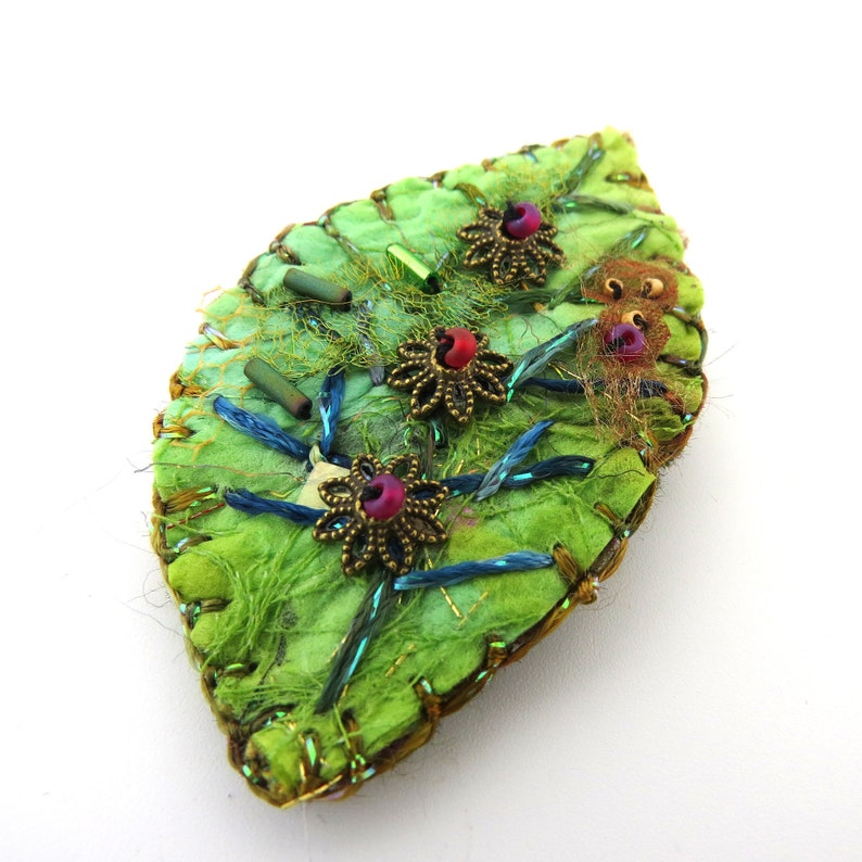 Handmade Silk Paper and Felt and Embroidered Pin/Brooch  GREEN image 0