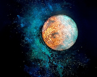 Mars and Luna - 5x7 inch metallic photographic print : FREE SHIPPING - red planet, galaxy, sun and moon, starfield, circle art