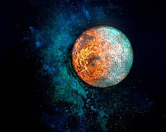 Mars and Luna - metallic photographic print : red planet, galaxy, sun and moon, starscape, starfield, circle art