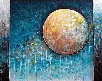 Coalesce - 5x7 inch metallic photographic print : circle, sun and moon skyscape