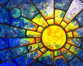 Summer! - metallic photographic print : geometric skyscape, starburst, sunburst, sunset, sunrise