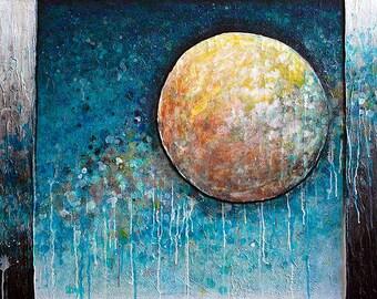Coalesce - metallic photographic print : circle art, sun and moon, skyscape, sunset, sunrise, modern zen art