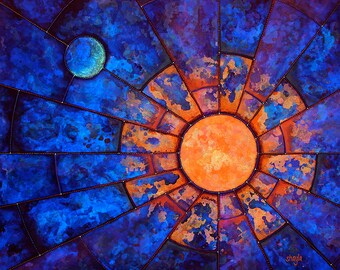 Luminary - metallic photographic print : dreamy astronomy, sacred geometry skyscape