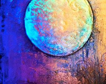 Melting Sun - fine art metallic photo print : IN PROCESS PAINTING ~ Behind the scenes photograph, wet paint