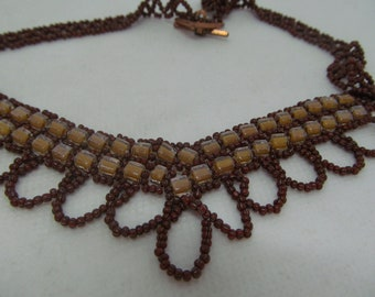Necklace- brown cube beads and brown seed beads